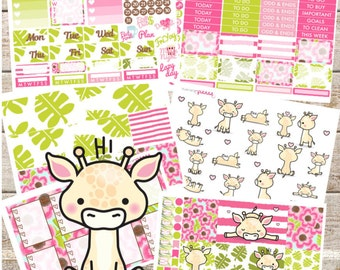 GIRAFFIES SAFARI Planner STICKERS Individual Sheets sized for the Erin Condren Life Planner