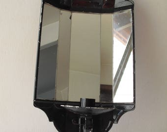 vtg mirrored metal candle sconce