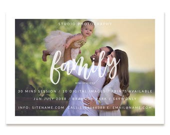 7x5in Family Portrait Session Photography Marketing Board PSD Template,  Newsletter Ad 7x5in Marketing Template,
