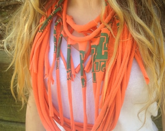 Orange and green East Lincoln upcycled t-shirt scarf