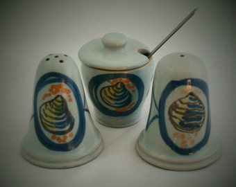 Cruet set comprising salt, pepper and mustard pots. Wonderful stoneware cruet by Buchan Pottery of Portobello, Scotland. Brittany pattern