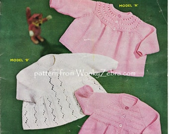 Three Matinee Jackets Vintage Knit Knitted Knitting Patterns PDF B104 from WonkyZebraBaby