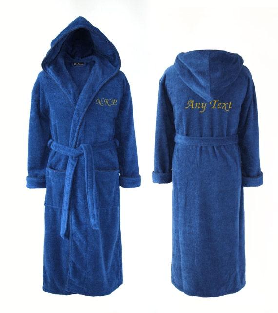 Personalised Dark Blue Hooded Towelling Dressing Gown
