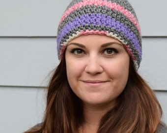 Gray, Pink and Purple Crochet Beanie