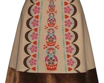 matryoshka skirt - tan - cute russian nesting doll hand screen print with velveteen hem