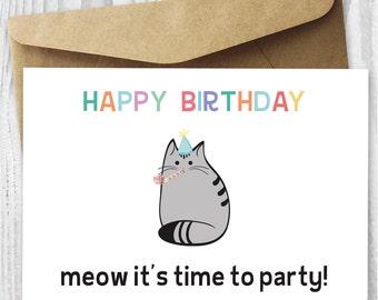 Birthday card printable happy birthday cat digital card happy birthday party cat card happy birthday cat digital card printable birthday card bookmarktalkfo Choice Image