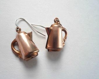 Coffee earrings Copper earrings Gift for coffee lover Gift tea lover Retro earrings Sterling silver Copper dangles Kitchen charm earrings