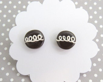 Food Earrings, Chocolate Cupcake Earrings, Food Jewelry, Cute Earrings, Hypoallergenic, Nickel Free