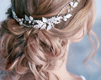 Bridal hair piece  Bridal leaf headpiece  Bridal hair vine  Wedding hair vine Bridal hair accessories Leaf hair vine Wedding hair piece