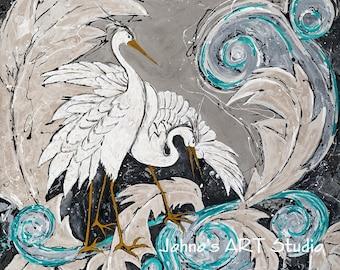 Bird art, Modern bird art, white birds, Egrets, Pittsburgh artist, by Johno Prascak, Johnos Art Studio