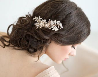 Gold Wedding Hair Comb, Bridal Hair Comb, Lace Wedding Hair Comb, Pearl Crystal Hair Comb