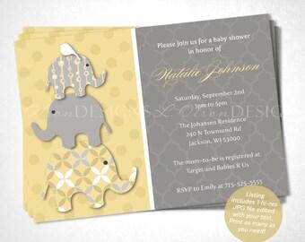 Yellow Elephants Baby Shower Invitation - DIY Printable