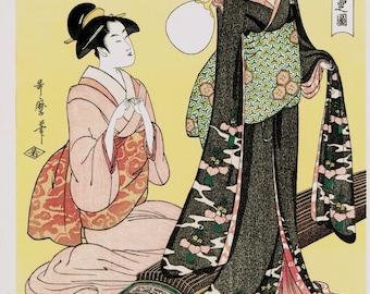 """Japanese Ukiyo-e Woodblock print, Utamaro, """"Picture of the Upper Class"""""""