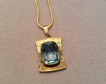 1970's Blue Glass Modernist pendant necklace