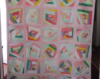"Vintage Handmade Square Block Patchwork Crazy Quilt Girls Twin Bed 63"" x 70"""