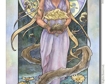 Art Print Lady of April and Trees Nature Bonsai Goddess with Daisies Birthstone Series Mucha Inspired Art Nouveau Painting