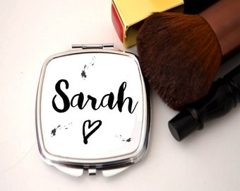 Compact mirror, personalised, name mirror, bridesmaid gift,
