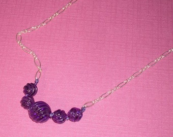 Amethyst Necklace -- ON SALE  --   OOAK Amethyst Necklace - Carved Amethyst Necklace - February Birthstone Necklace