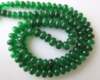 Natural Green Serpentine Rondelle Beads, Smooth Rondelle Beads, 7mm to 9.5mm Beads, 18 Inch Strand, GDS670