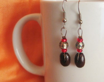 Red-y to wear...Authentic Fair Trade Coffee Bean Earrings .. FREE SHIPPING