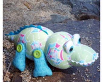 """Melly & Me pattern by  Melanie McNeice  """"Crikey"""" the Crocodile Stuffed Toy"""