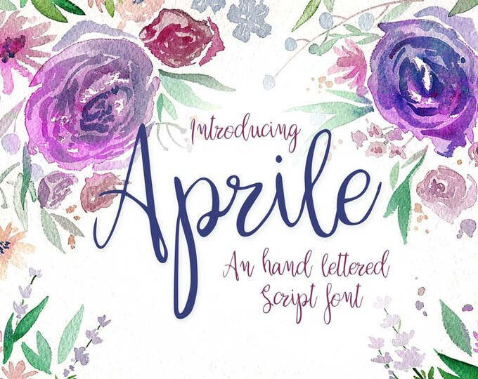 Featured listing image: Aprile - A romantic hand lettered calligraphy font