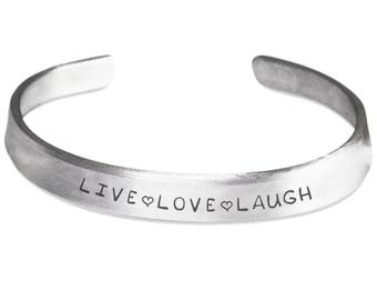 Live Love Laugh Stamped Cuff Bracelet | Pure Aluminum