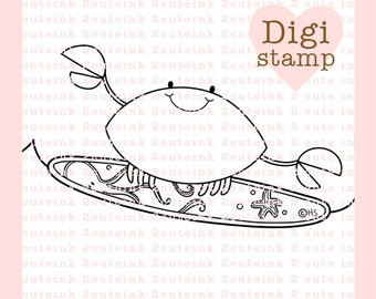 Surfer Crab Digital Stamp for Card Making, Paper Crafts, Scrapbooking, Hand Embroidery, Invitations, Stickers, Coloring Pages