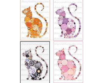 CAT CURLY TAIL- 5x7- Button Art, Button Artwork, ooak, Feline art, Tom Cat, Swarvoski, button art, buttons, wall art, feline, pets