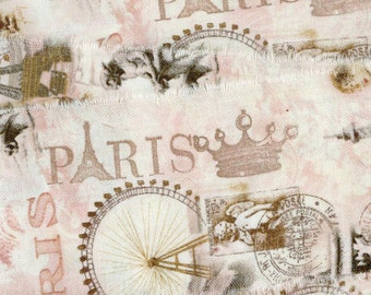 2.5 wide paris apartment pink Eiffel tower  frayed torn fabric ribbon 67