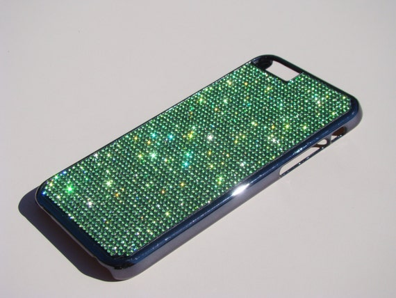 """iPhone 6 / 6s 4.7"""" Peridot Green Rhinestone Crystals on Black Chrome Case. Velvet/Silk Pouch Included, Genuine Rangsee Crystal Cases."""