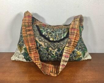 Green Embroidered Purse, Bag, Shoulder Bag, Boho Bag
