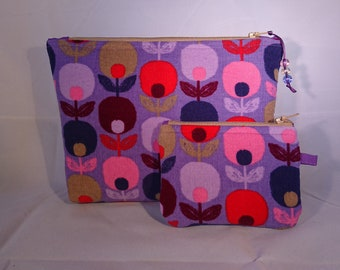 Hand Made upcycled/recycled make up bag set. Cosmetics bag with matching coin purse.
