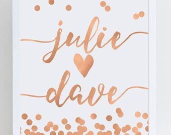 Rose Gold Name Sign - Wedding - Bride and Groom Names