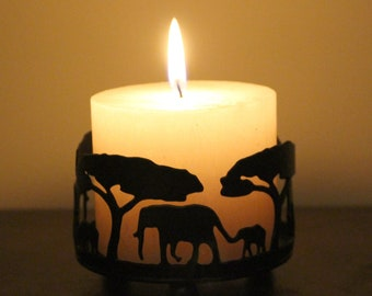 Handmade Elephant Candle Holder with St Eval Scented Candle (Bay and Rosemary or Sea salt)