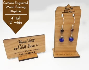 Custom Wood Jewelry Display Earring Stands |  Add Logo & Text | Craft Show Displays Table Top Booth | Finish Alder Wood