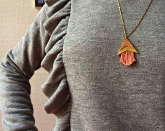 Necklace long triangle arrow Cork fringes mustard/salmon/blue-Galileo