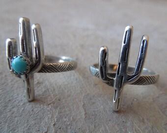 Little Cactus Sterling Silver Turquoise Ring Handmade Saguaro Cactus Arizona New Mexico Southwest Ring