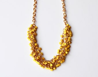 Yellow Tetris statement necklace
