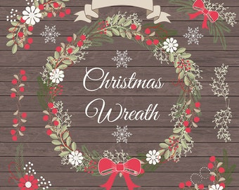 Premium Vector Rustic christmas clipart, xmas clipart, pine wreath, pine branches, bow, clipart