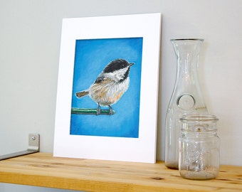11x14 Chickadee Wall Art with White Mat - Ready to Frame Bird Print from Original Acrylic Painting