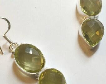 Faceted Citrine Glass Dangle Earrings