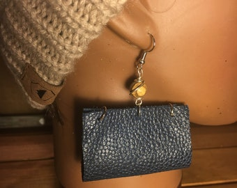 Navy Blue Leather Tote™ Earrings