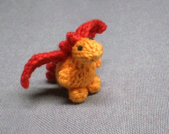 Tiny Flame the Dragon - Knitted and Crocheted