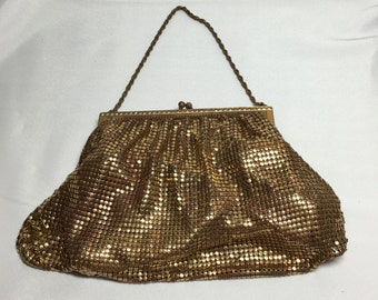 Vintage Gold Metal Mesh Evening Bag with Chain