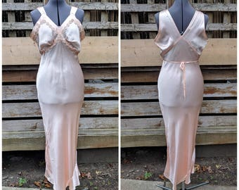 Vintage 1930's or 40's IANEE Old Hollywood Bias Cut Peach Pink Liquid Satin Silk with Lace Nightgown Evening Gown