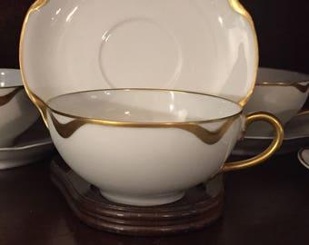 Set of 4 Vintage Haviland Tea Cup and Saucer,