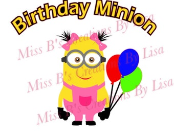 Girl Birthday Minion svg studio file studio3