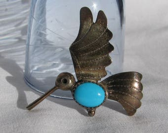 Navajo Artisan FRANK YAZZIE Signed 1950's Hummingbird in Flight Brooch, Turquoise and Sterling Silver, Artisan Crafted