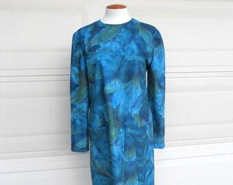 SALE Shift Dress Vintage 70s Watercolor Print Dress Turquoise Purple Avocado Green M-L